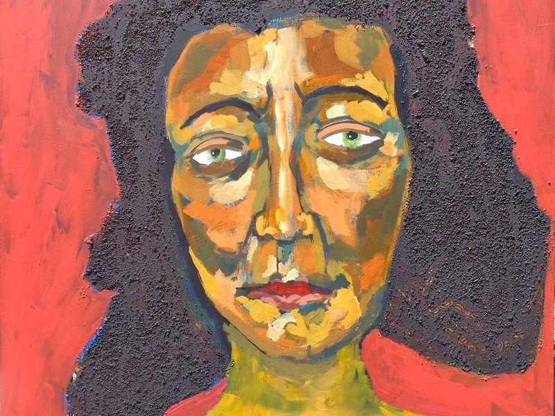 Dama sobre fondo rojo