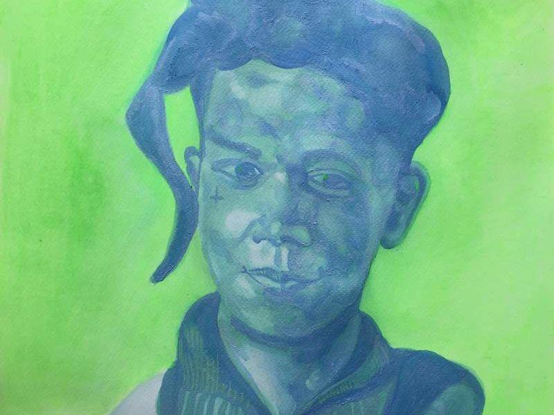 Basquiat en azul con fondo verde